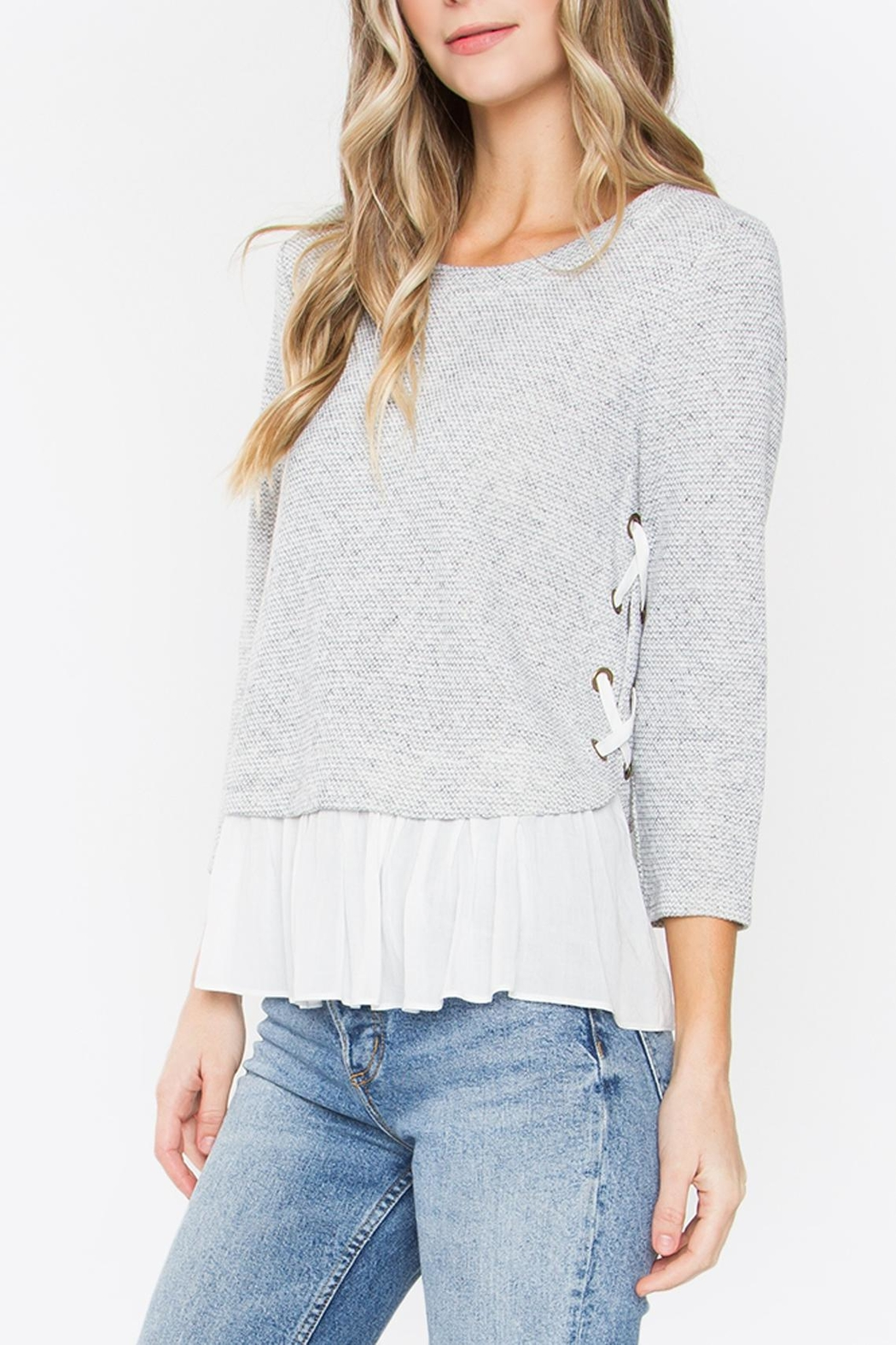 Sugarlips Lace-Up Peplum Sweater - Front Cropped Image
