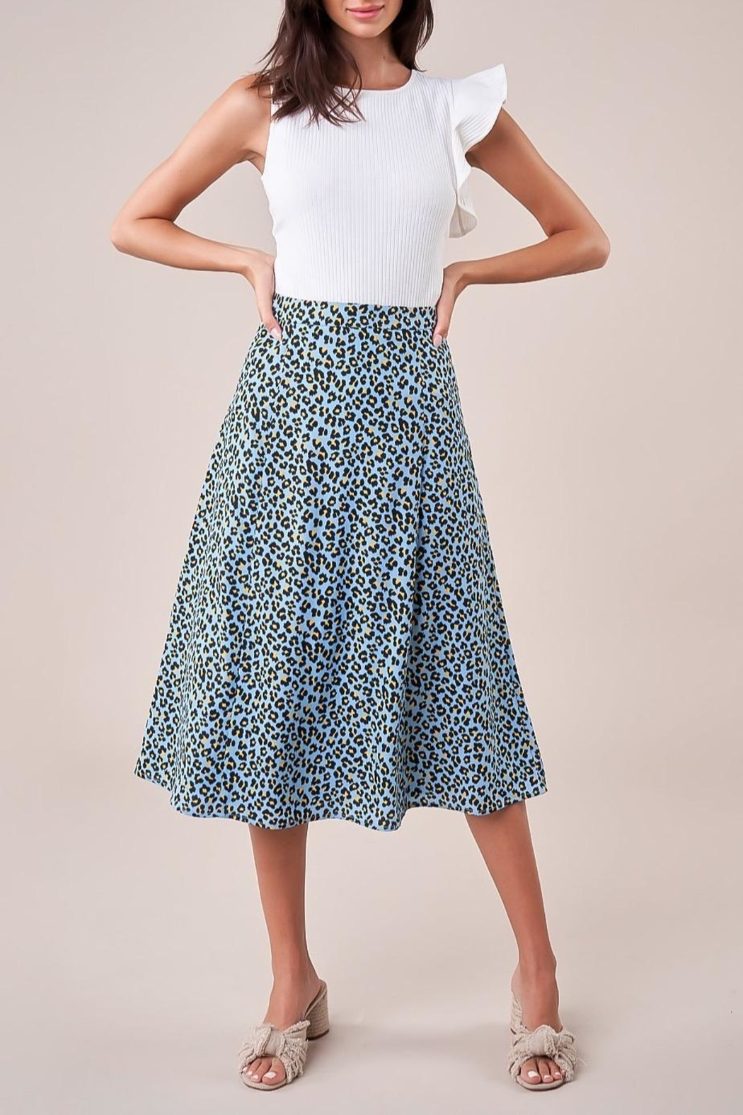 Sugarlips Leopard Midi Skirt - Front Cropped Image
