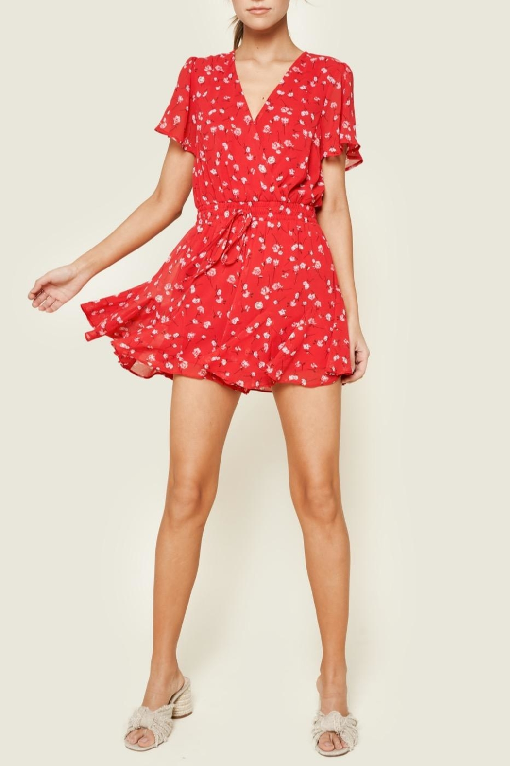 Sugarlips Red Floral Romper - Front Full Image