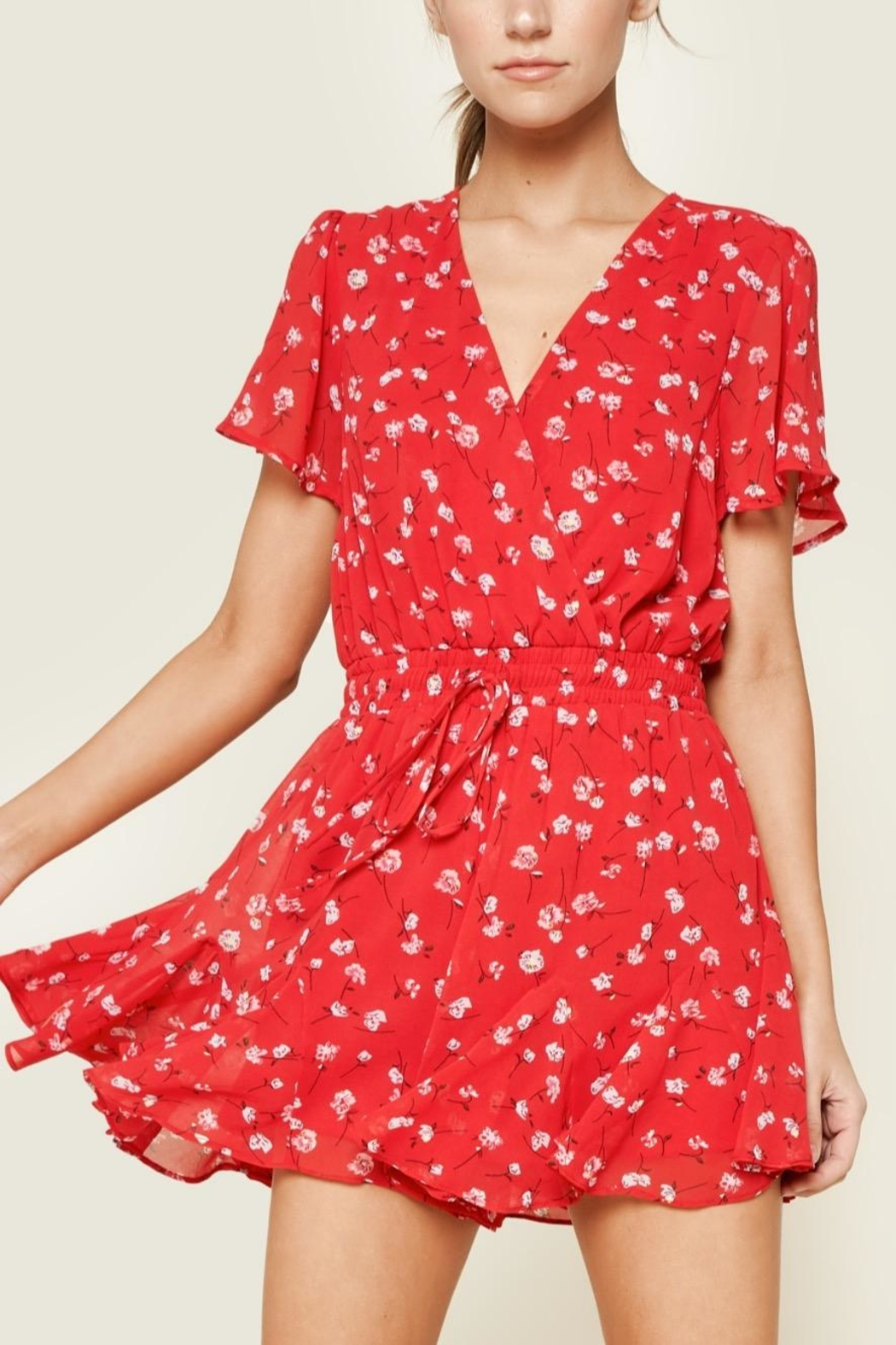 Sugarlips Red Floral Romper - Main Image