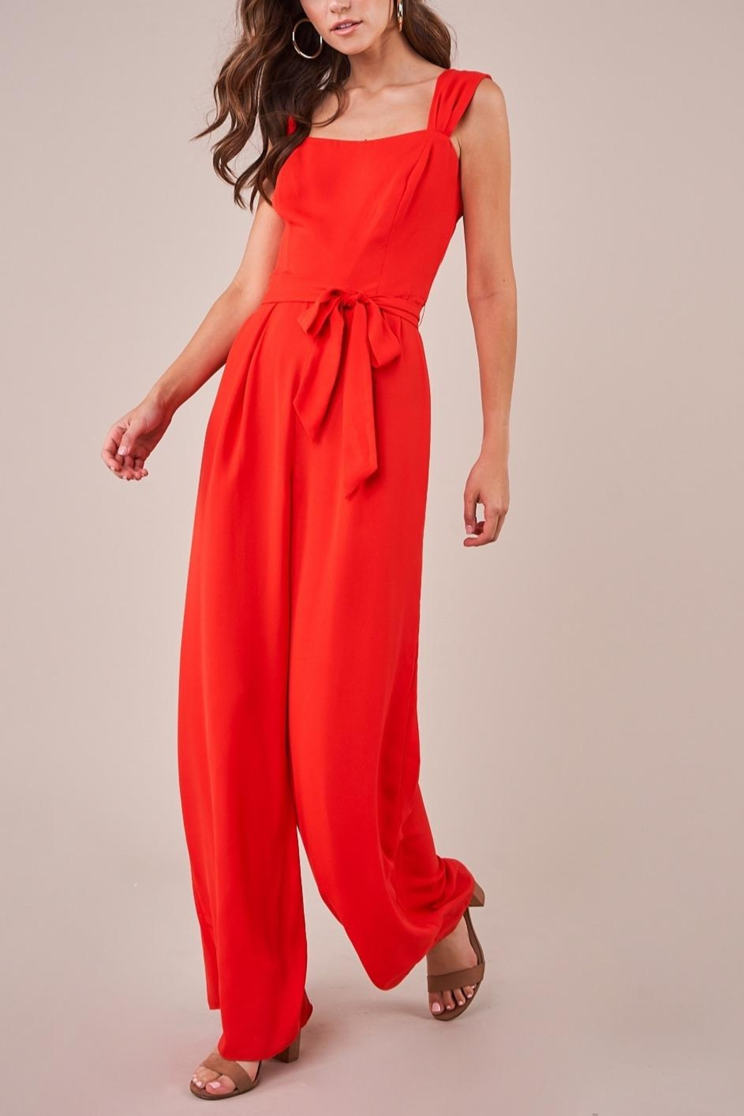 Sugarlips Red Wide-Leg Jumpsuit - Front Full Image