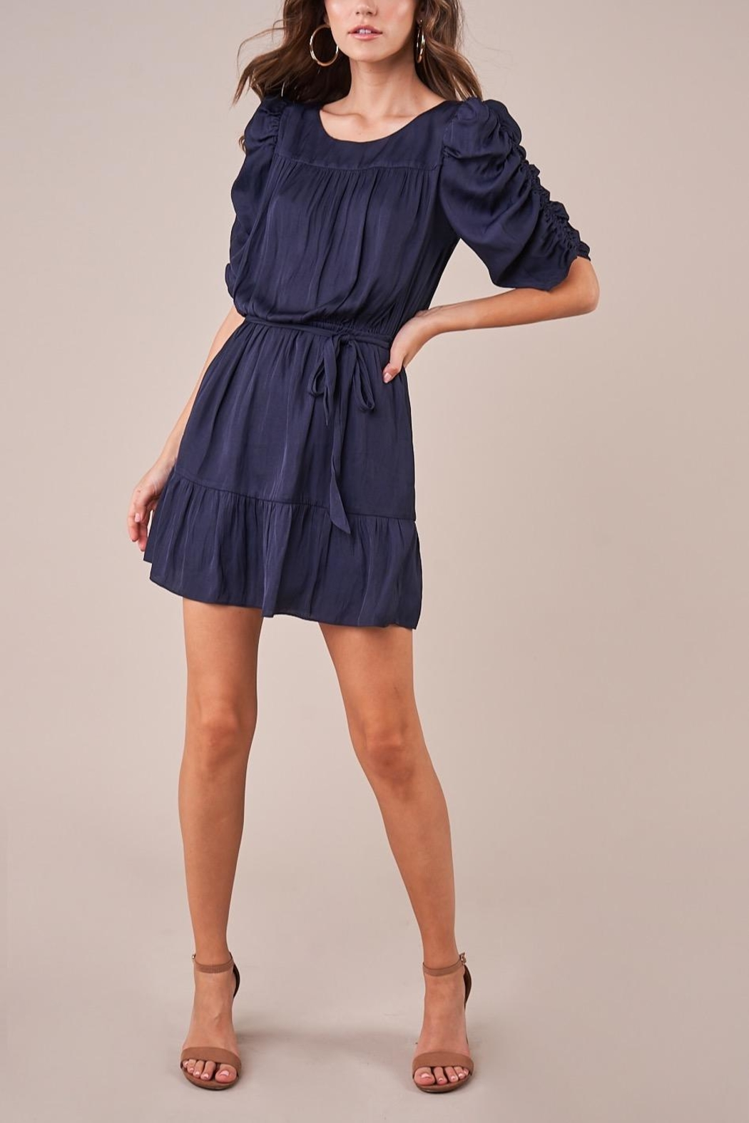 Sugarlips Ruched Sleeve Dress - Front Full Image