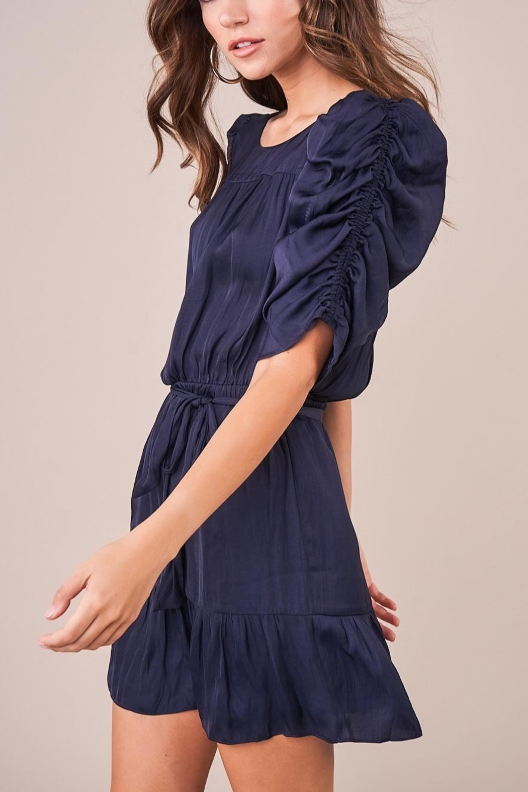 Sugarlips Ruched Sleeve Dress - Side Cropped Image