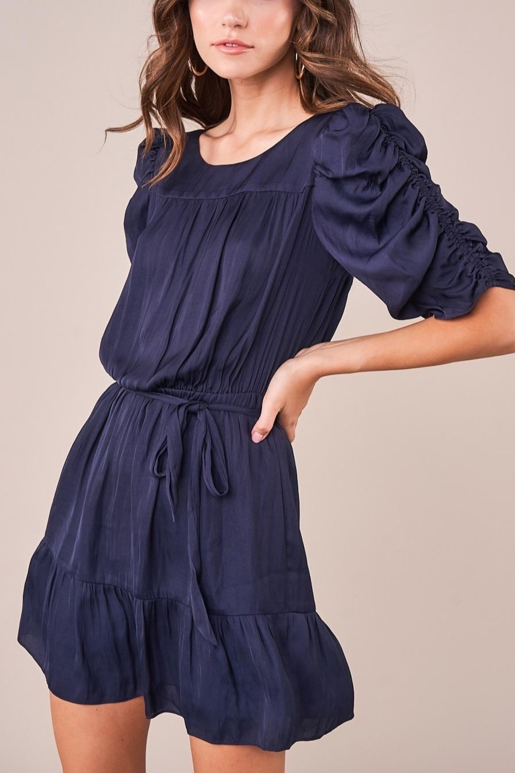 Sugarlips Ruched Sleeve Dress - Front Cropped Image
