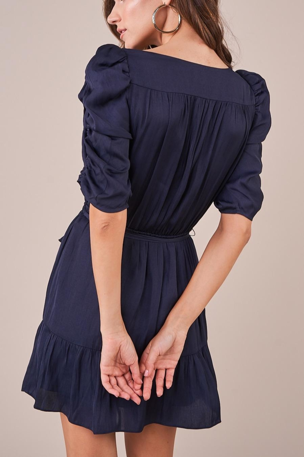 Sugarlips Ruched Sleeve Dress - Back Cropped Image