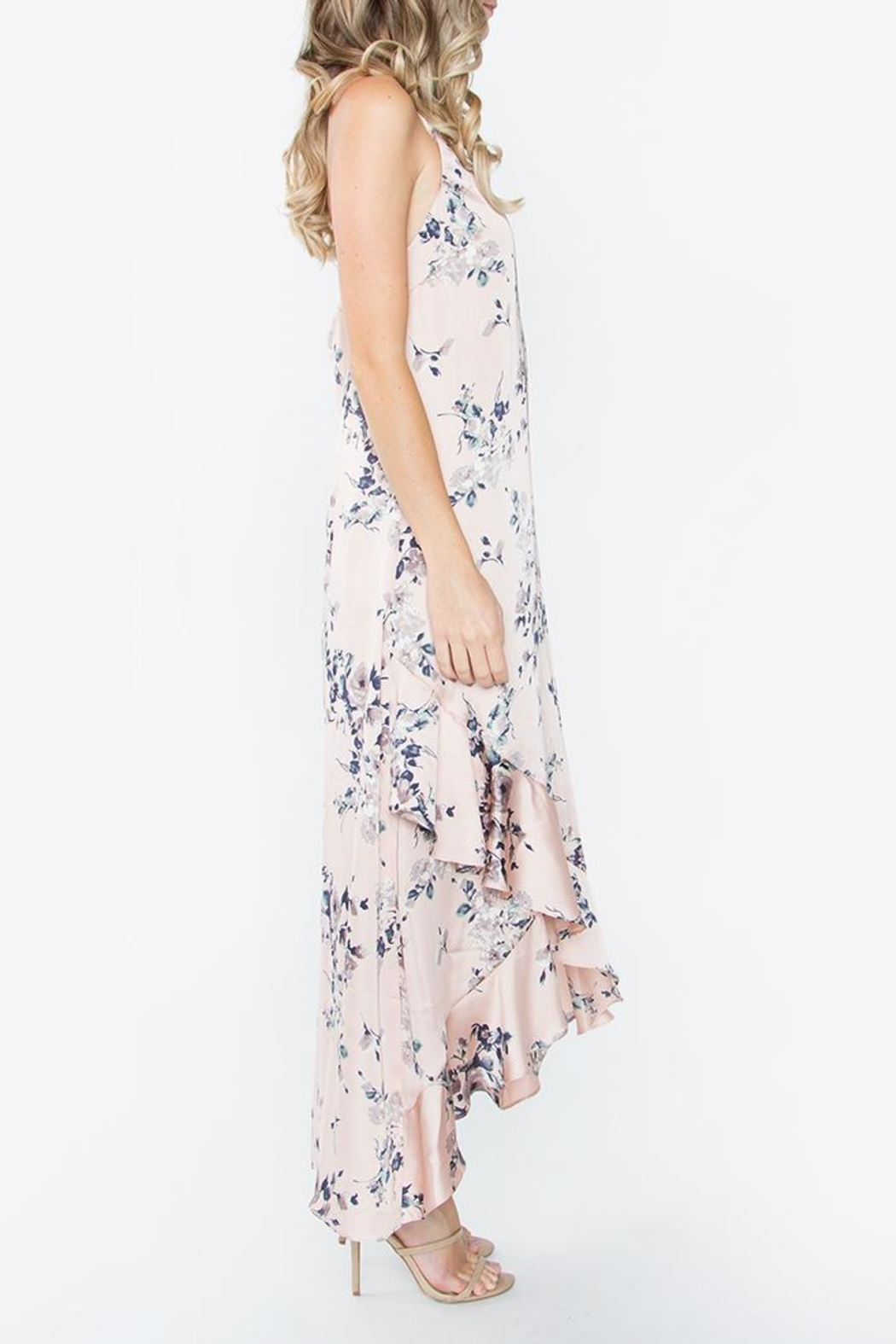 Sugarlips Silky Floral Maxi Dress - Front Full Image