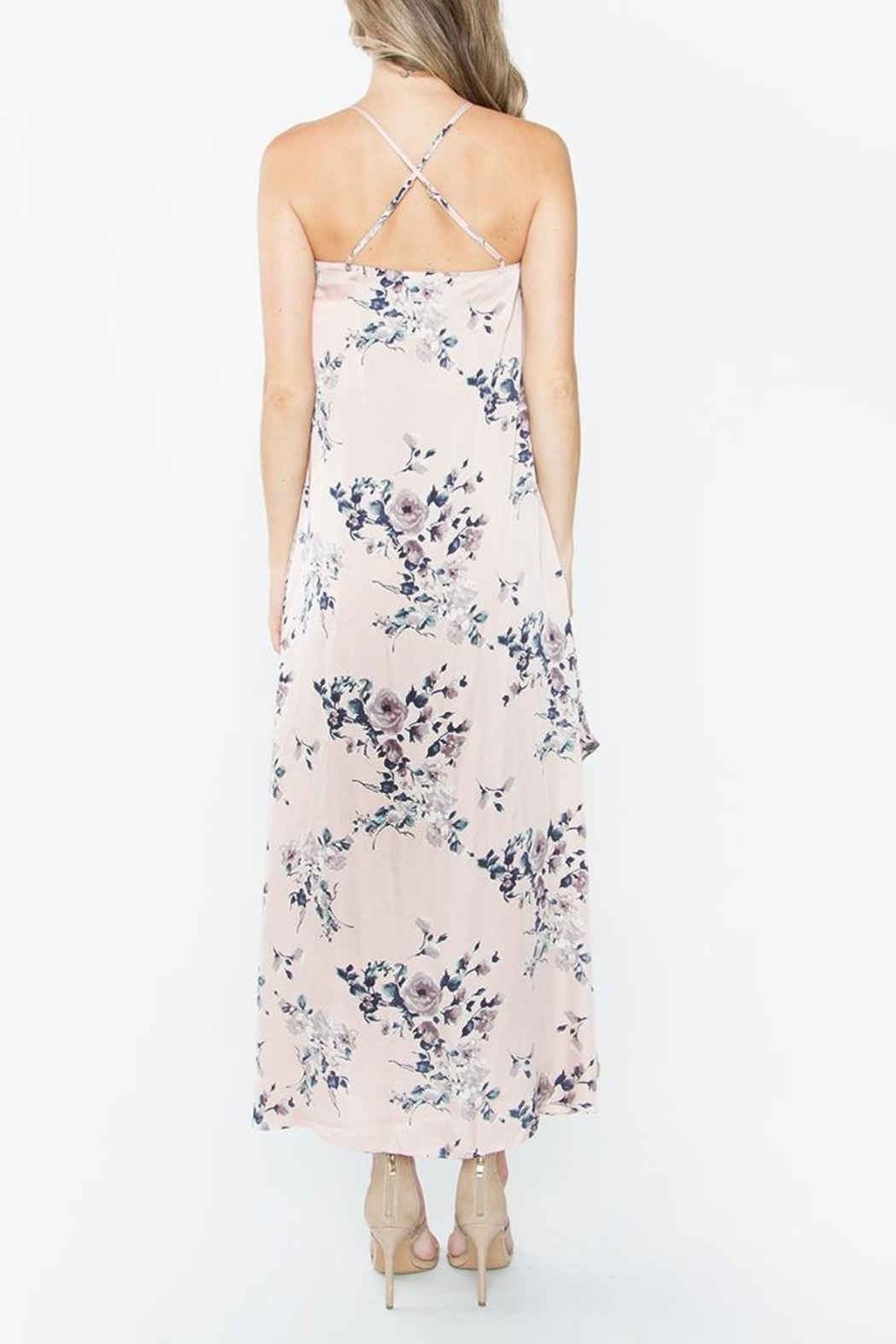 Sugarlips Silky Floral Maxi Dress - Side Cropped Image