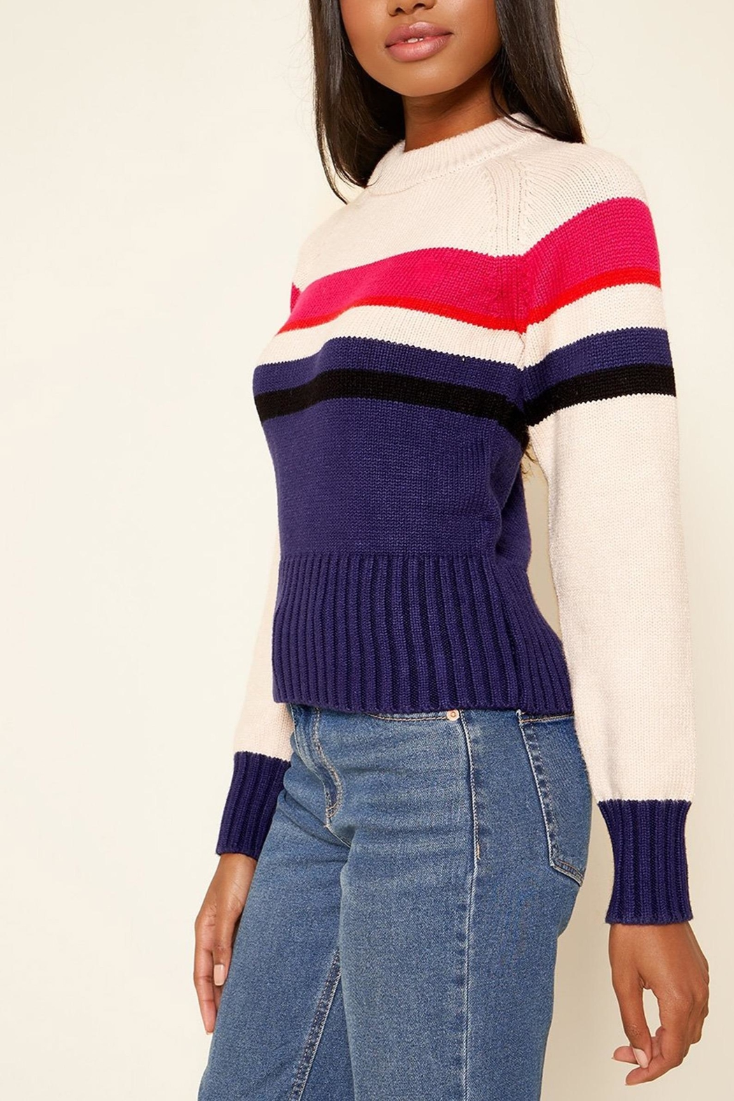 Sugarlips Striped Crew-Neck Sweater - Front Full Image