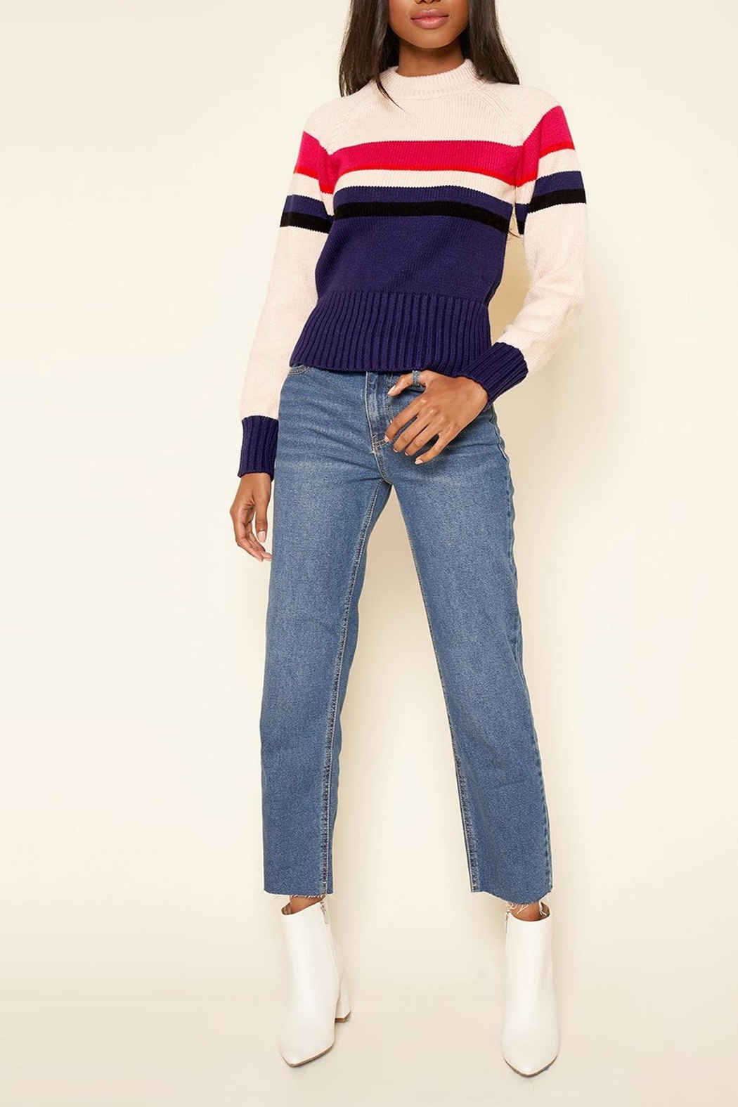 Sugarlips Striped Crew-Neck Sweater - Back Cropped Image