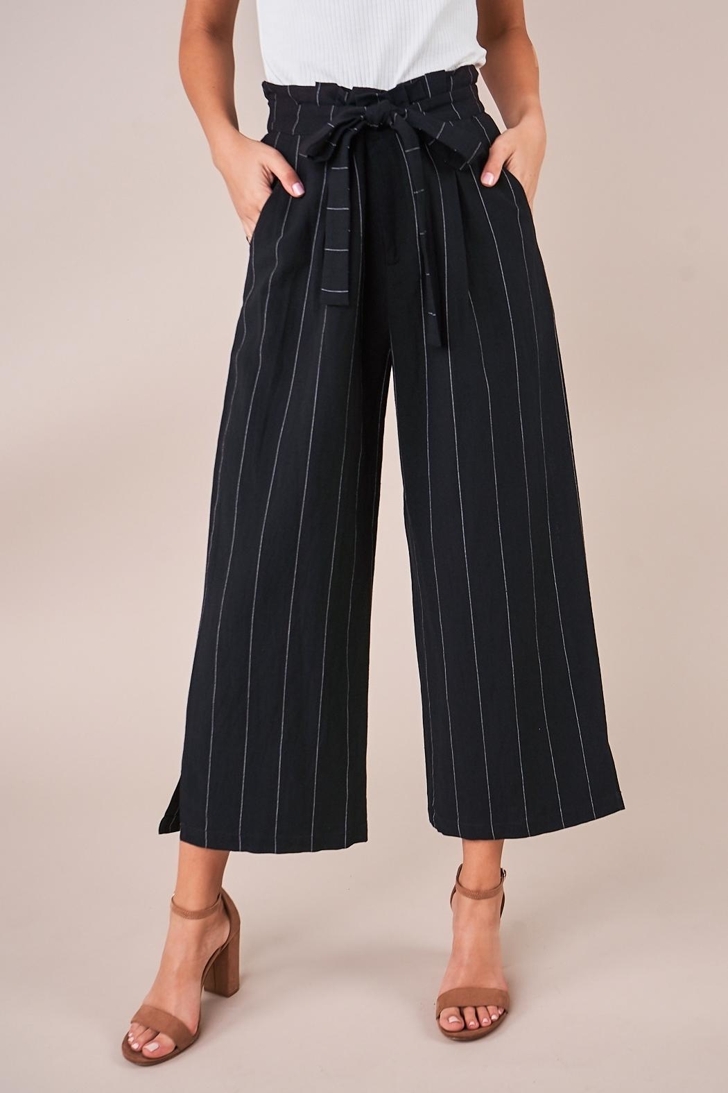 Sugarlips Striped Culotte Pants - Front Full Image