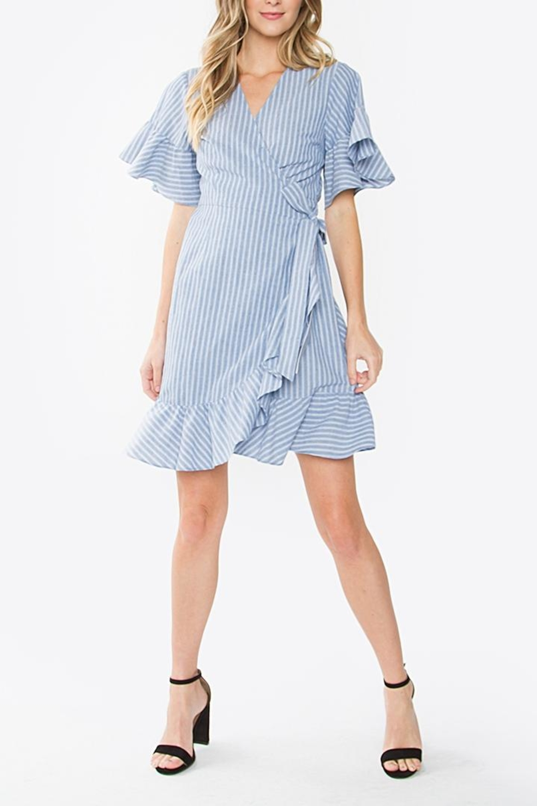Sugarlips Striped Ruffle Dress - Side Cropped Image