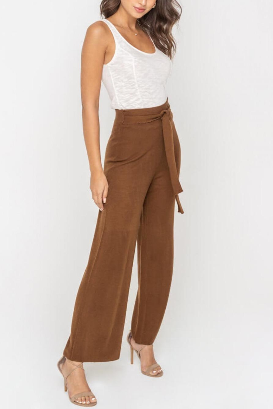 Sugarlips Waist-Tie Knit Pants - Front Full Image