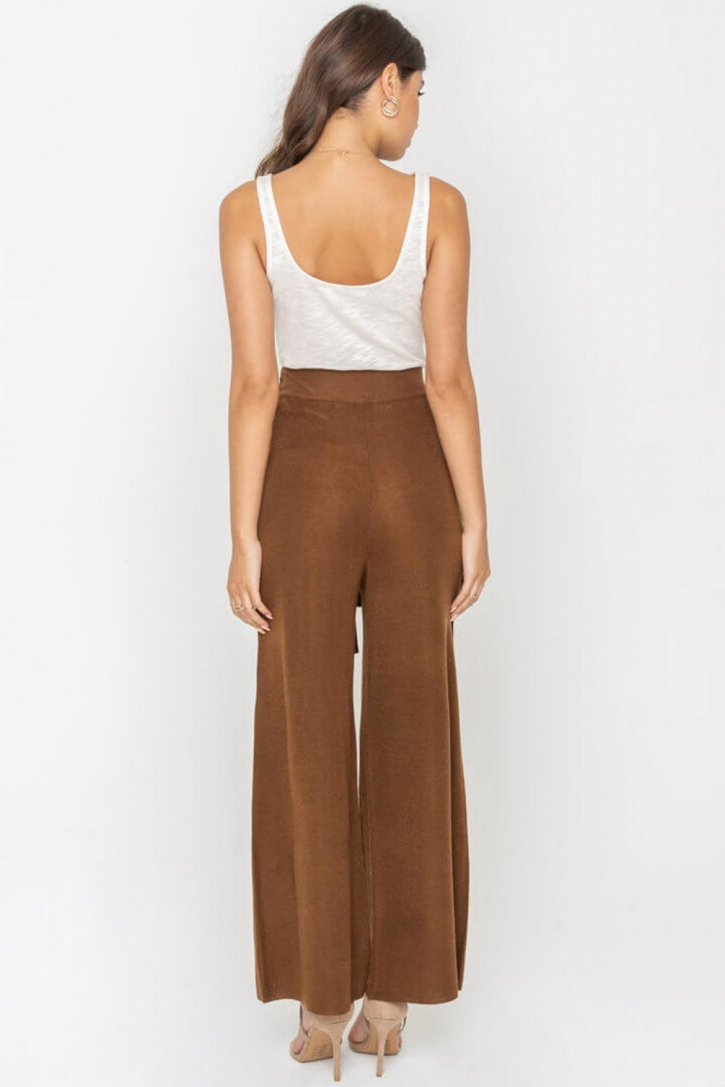 Sugarlips Waist-Tie Knit Pants - Back Cropped Image