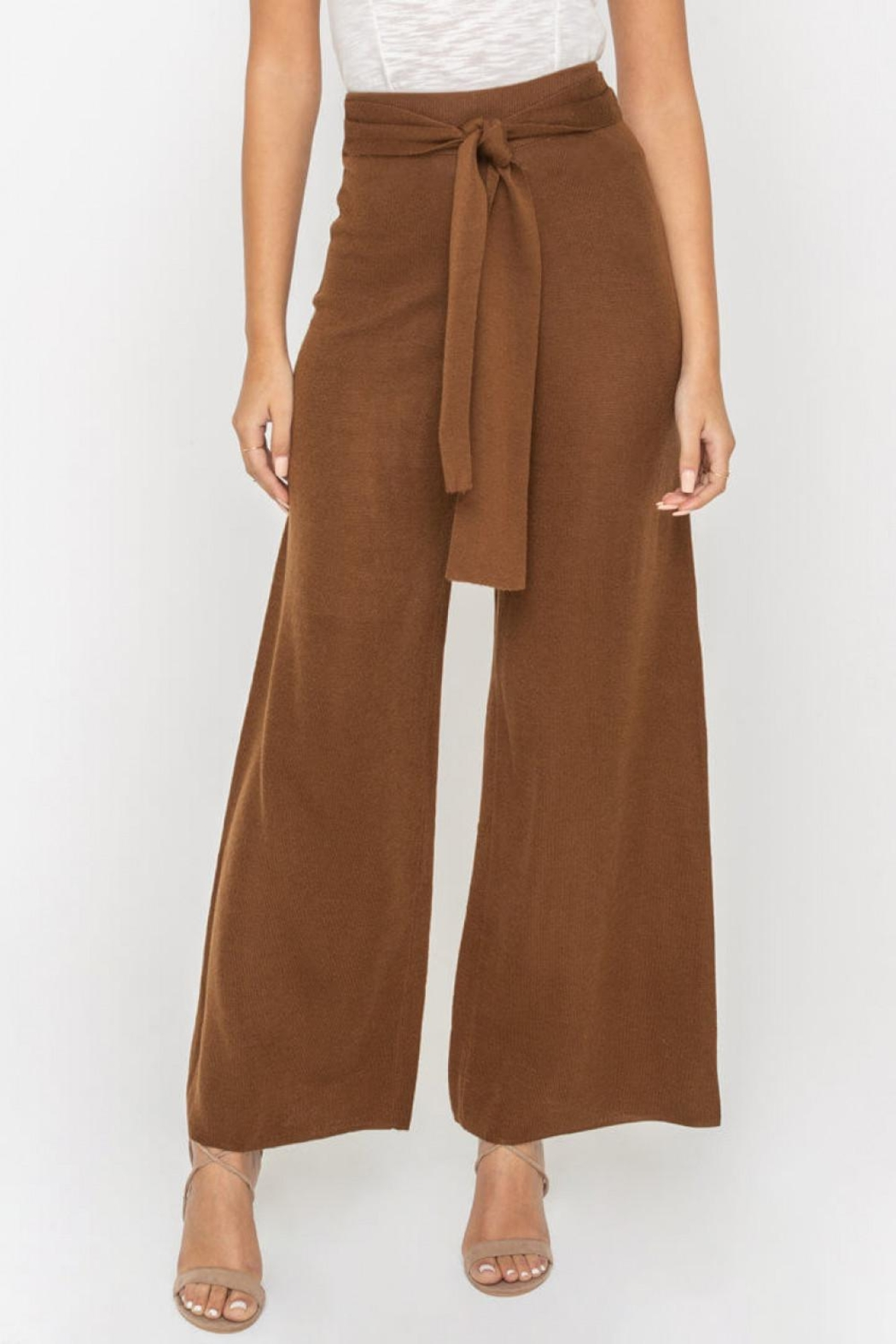 Sugarlips Waist-Tie Knit Pants - Side Cropped Image
