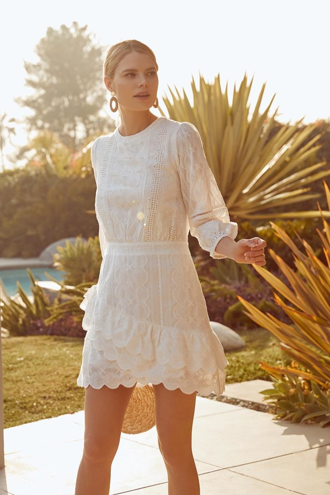 Sugarlips White Embroidered Dress - Front Full Image