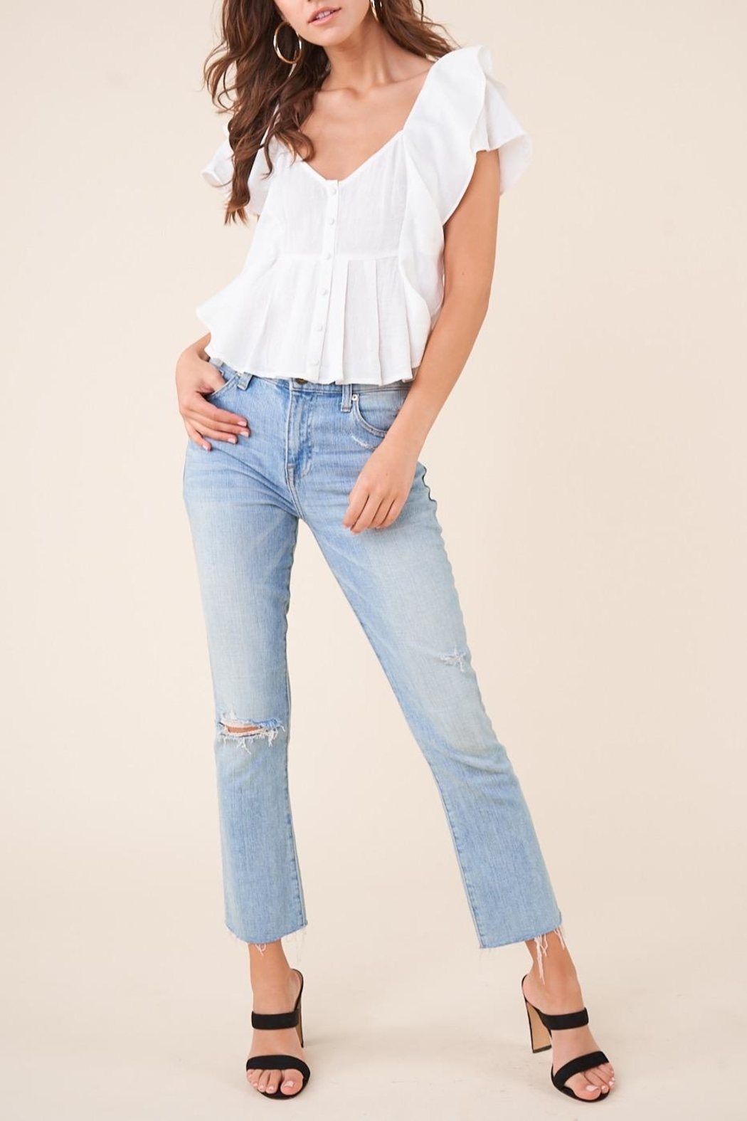 Sugarlips White Ruffle Button-Down Blouse - Side Cropped Image