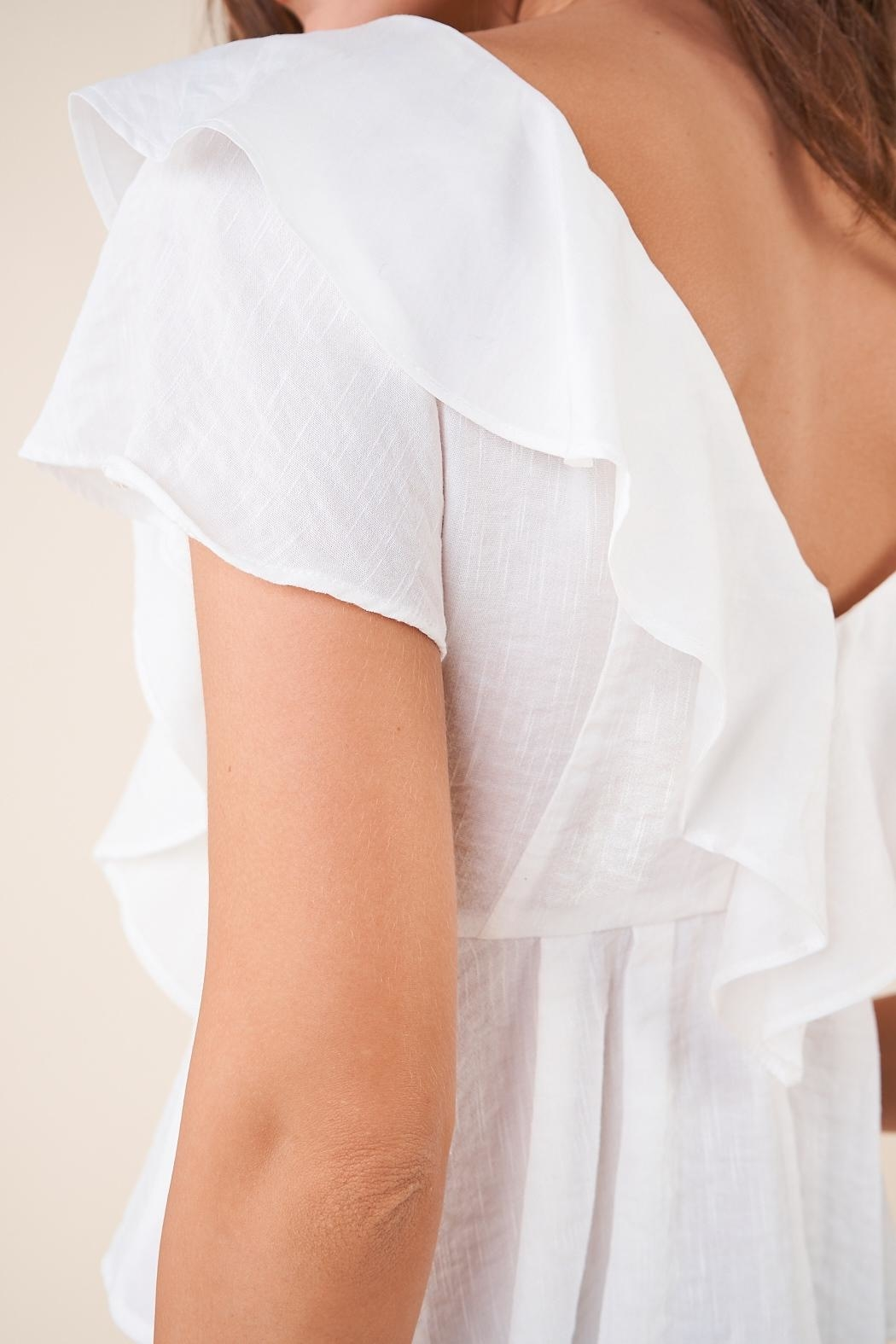 Sugarlips White Ruffle Button-Down Blouse - Front Full Image