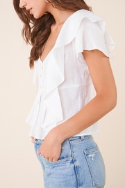 Sugarlips White Ruffle Button-Down Blouse - Other
