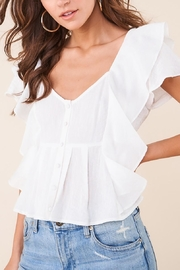Sugarlips White Ruffle Button-Down Blouse - Product Mini Image