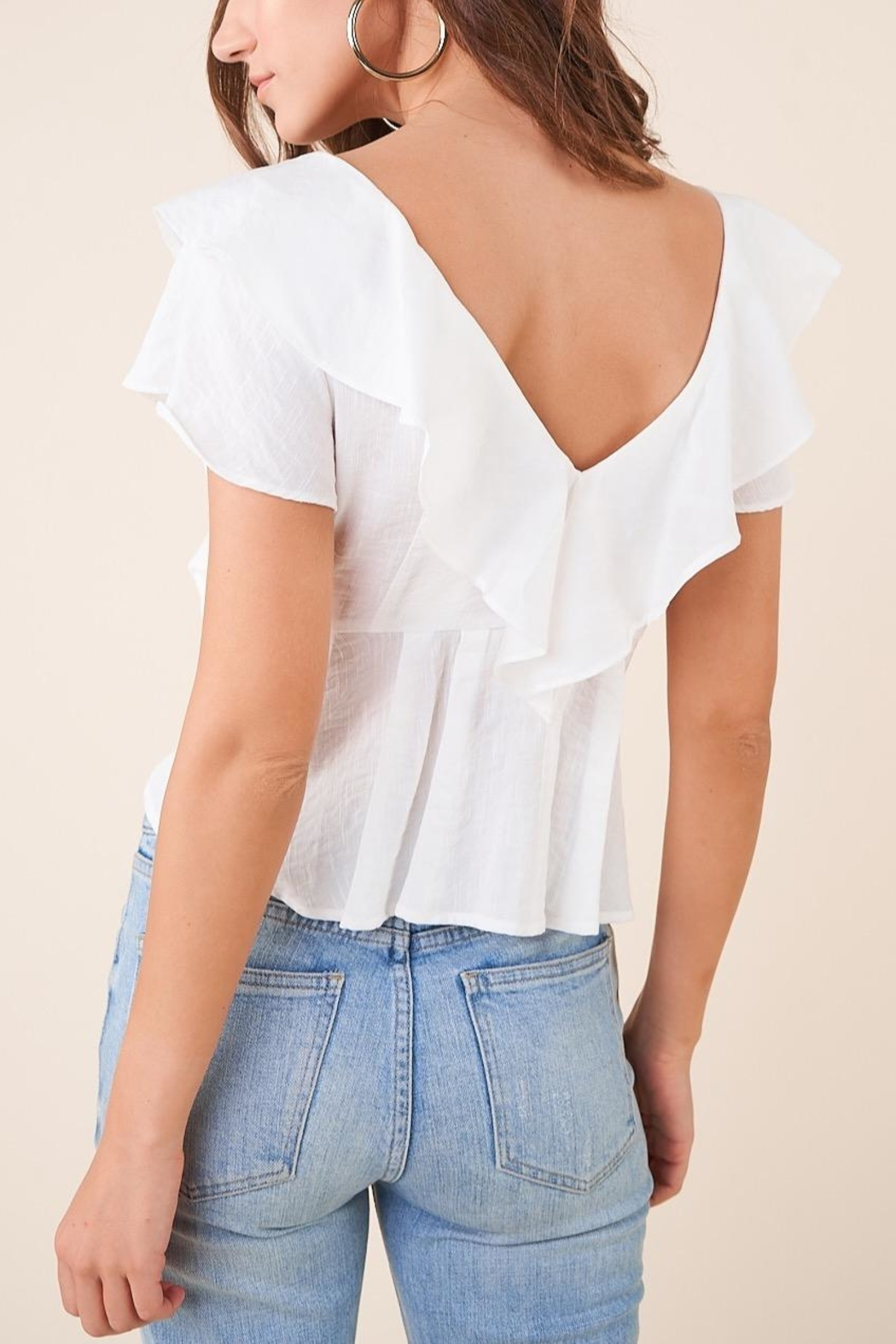 Sugarlips White Ruffle Button-Down Blouse - Back Cropped Image