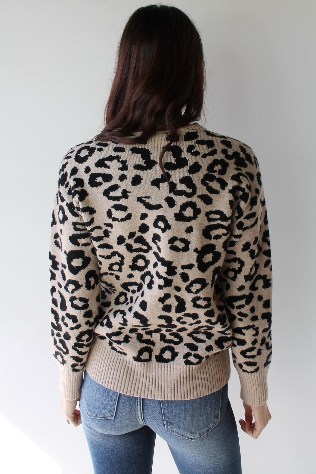 Sugarlips Willa Leopard Sweater - Side Cropped Image
