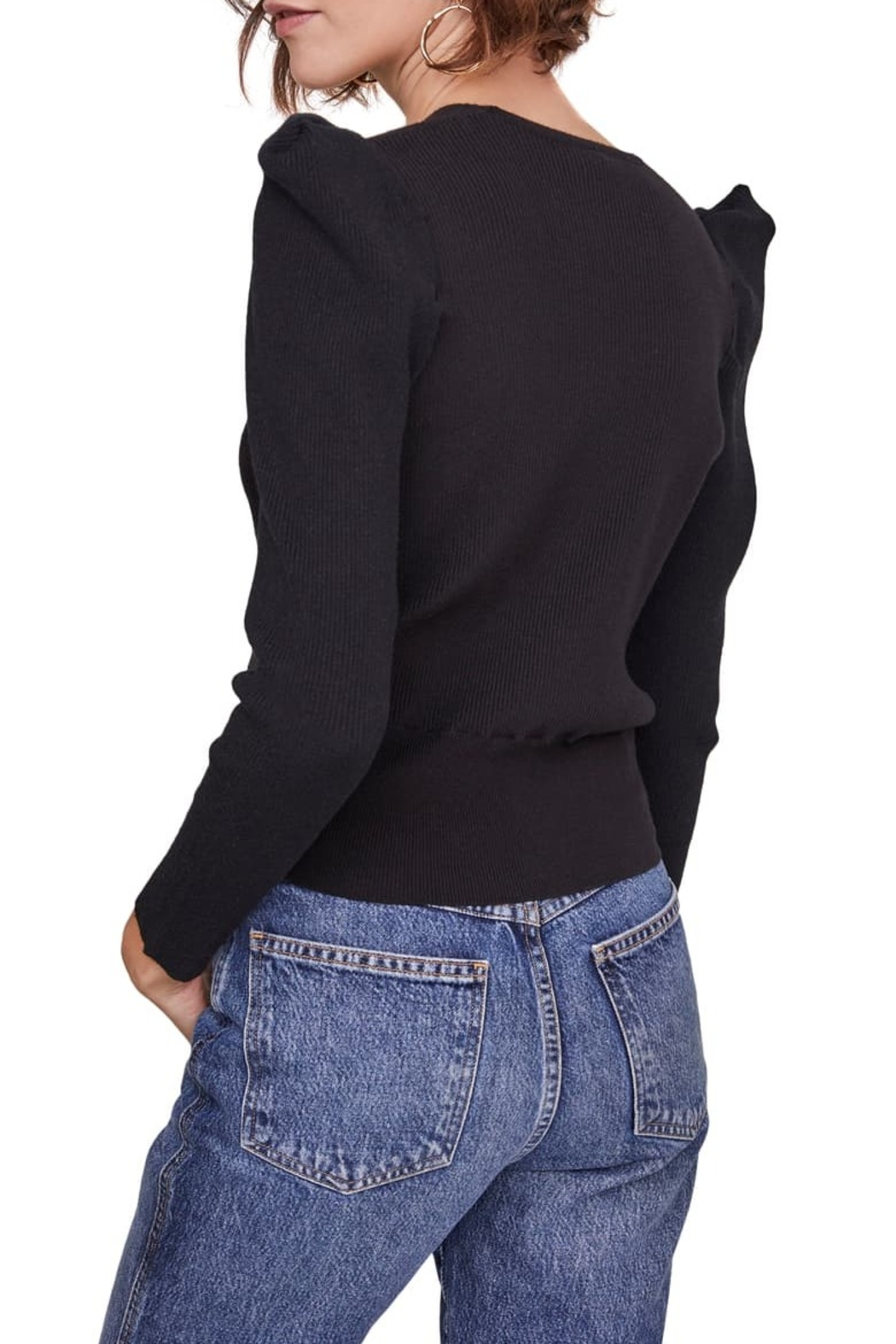 ASTR the Label Suki Surplice Puff Shoulder Sweater - Side Cropped Image