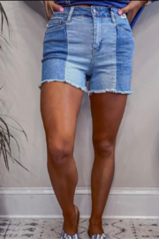 Judy Blue Summer Contrast Panel Shorts - Product Mini Image