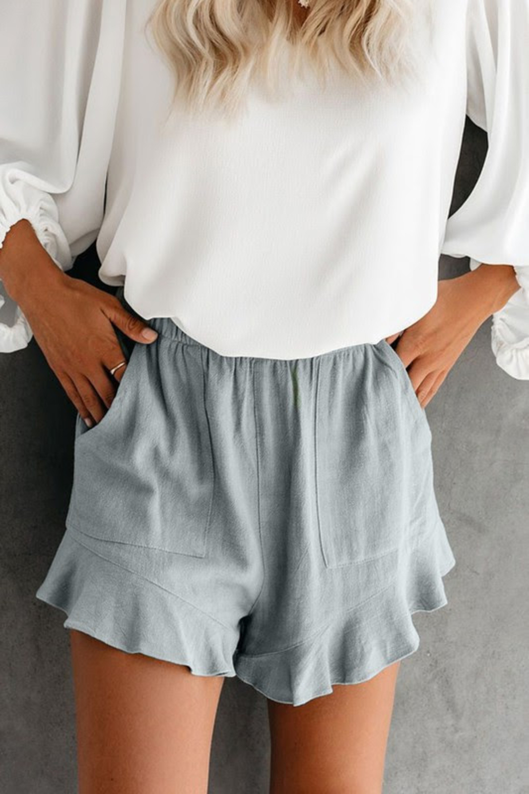 lily clothing Summer Ruffle Shorts - Front Cropped Image