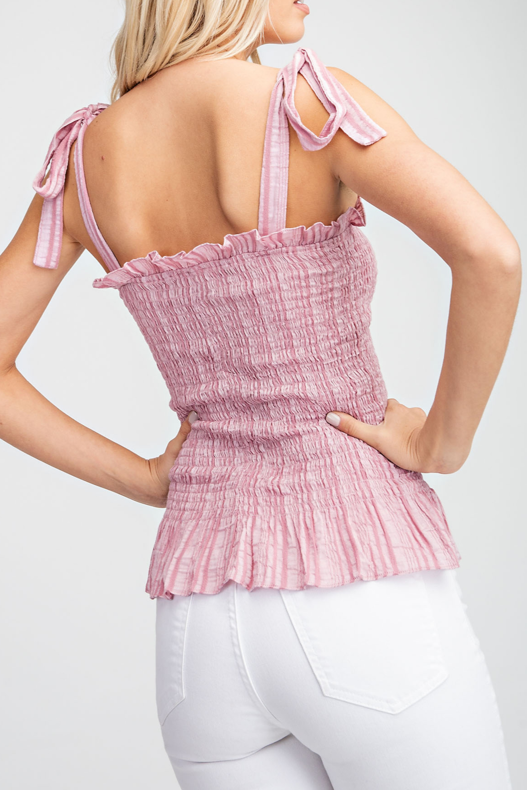 Glam Apparel Summer Smocked Top - Front Full Image