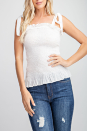 Glam Apparel Summer Smocked Top - Front cropped