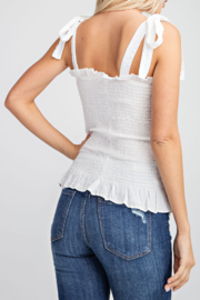 Glam Apparel Summer Smocked Top - Front full body