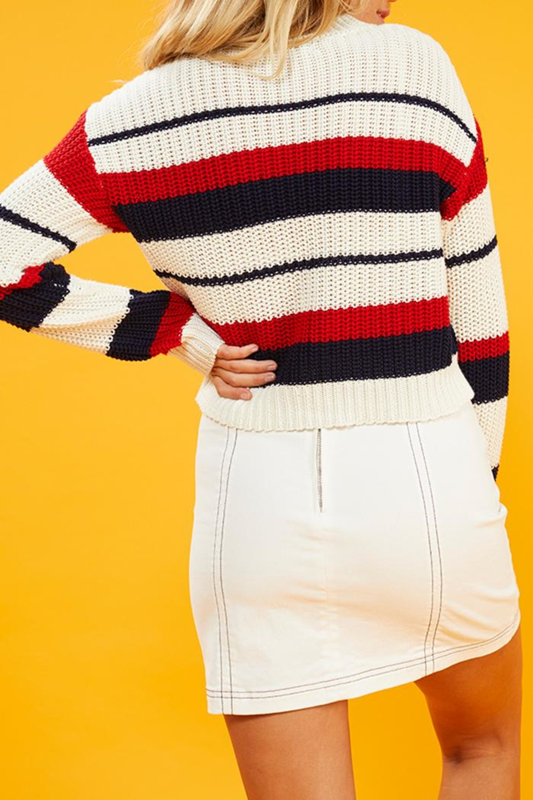 MinkPink Summer Striped Sweater - Side Cropped Image
