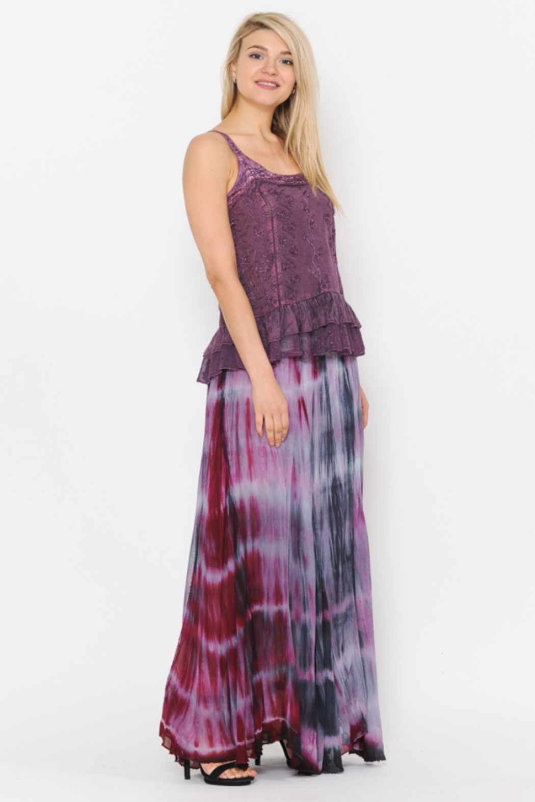 Apparel Love Summer Sunsets Chiffon Maxi Skirt - Side Cropped Image