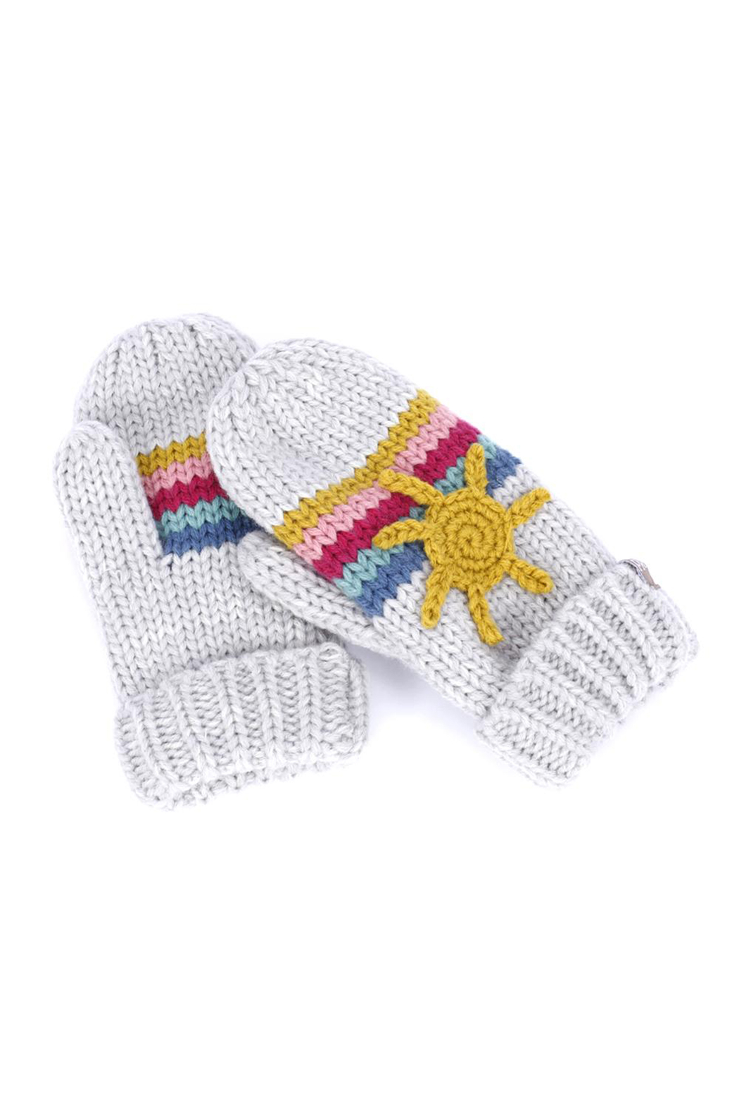 peppercorn kids Sun and Rainbow Mittens - Front Full Image