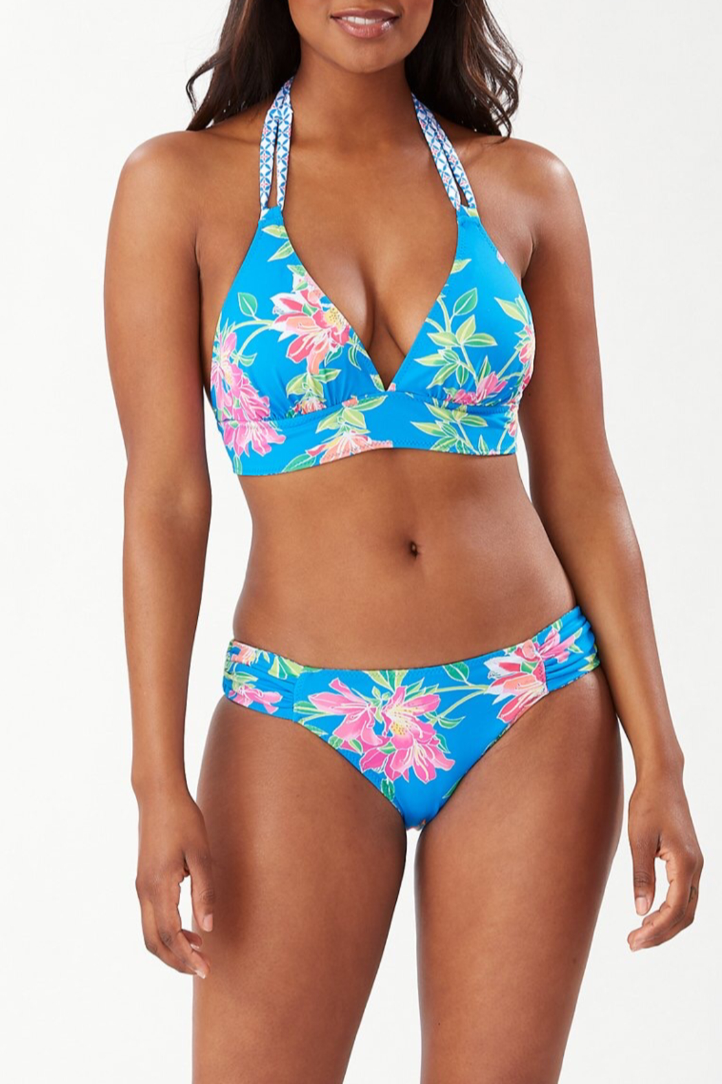 Tommy Bahama  Sun Lilies Reversible Halter Bikini Top - Front Cropped Image