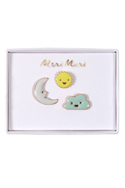 Meri Meri Sun Moon & Cloud Enamel Pins - Product Mini Image