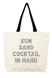 Fallon & Royce Sun Sand Cocktail in Hand Canvas Confetti Beads Tote - Product Mini Image
