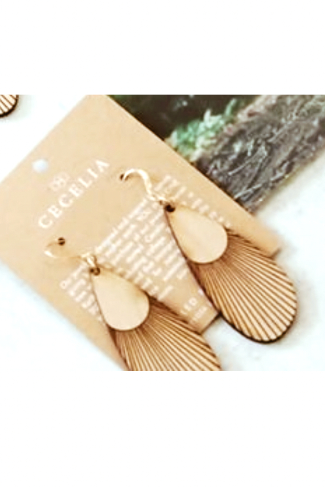 Cecelia Designs Jewelry Sunbeam Feather Wood Earrings - Front Cropped Image