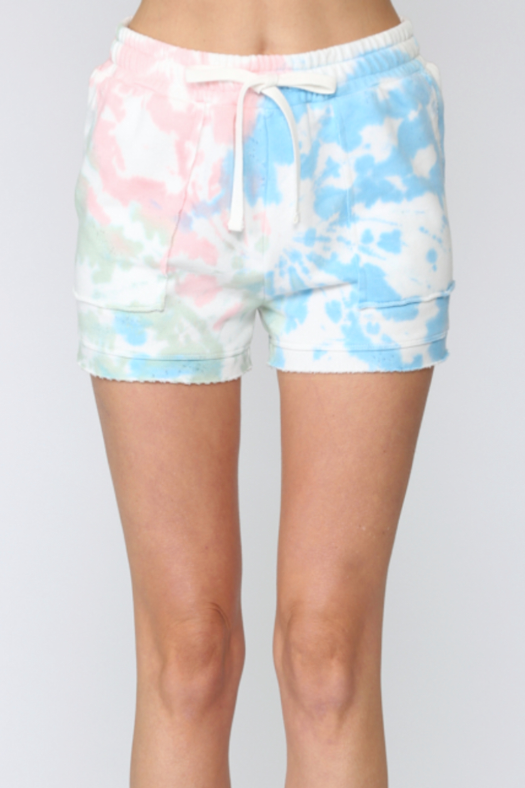 Fate Sunburst Tie Dye Shorts - Front Cropped Image