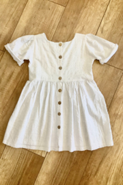 Mahli Sundays Linen Dress White - Front full body