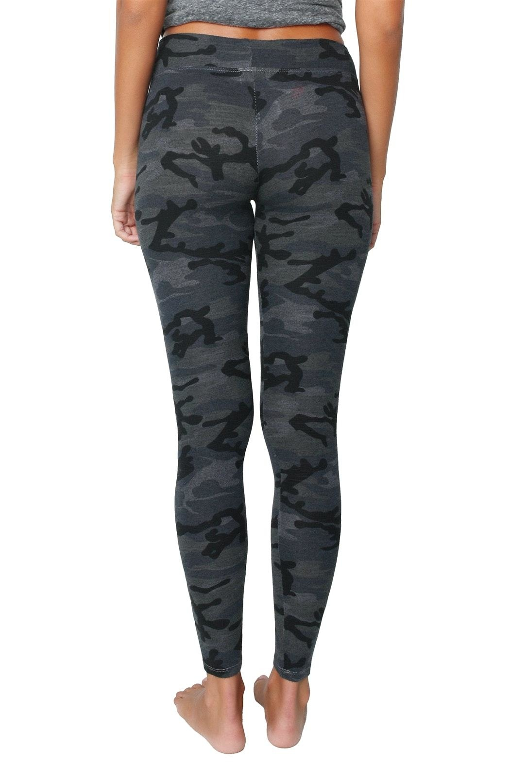Sundry Black Camo Yoga Pant - Back Cropped Image