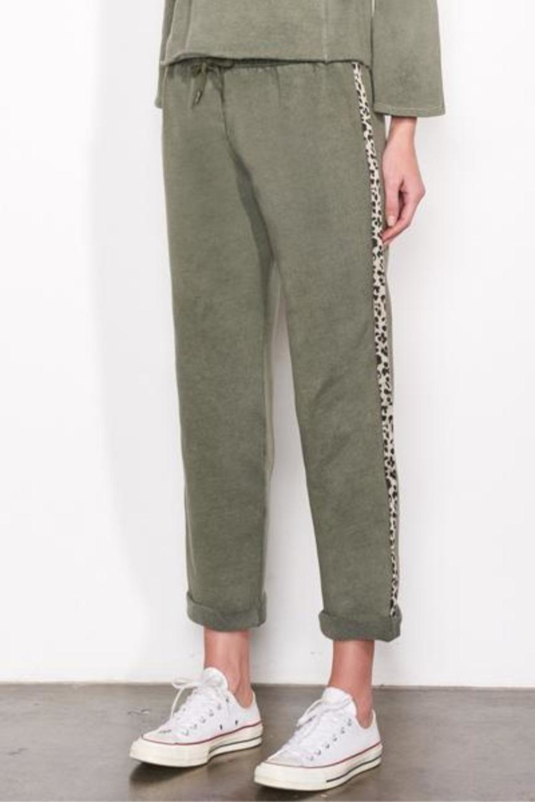 Sundry Leopard Trim Sweats - Front Cropped Image