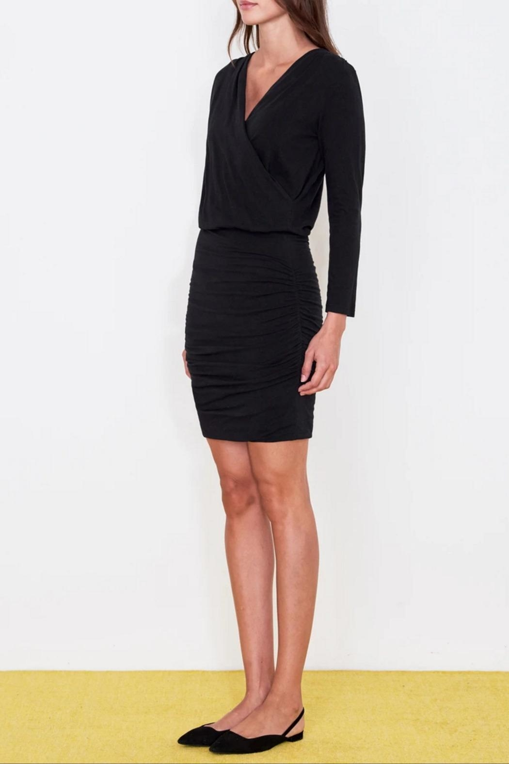 Sundry Surplice Ruched Dress - Side Cropped Image