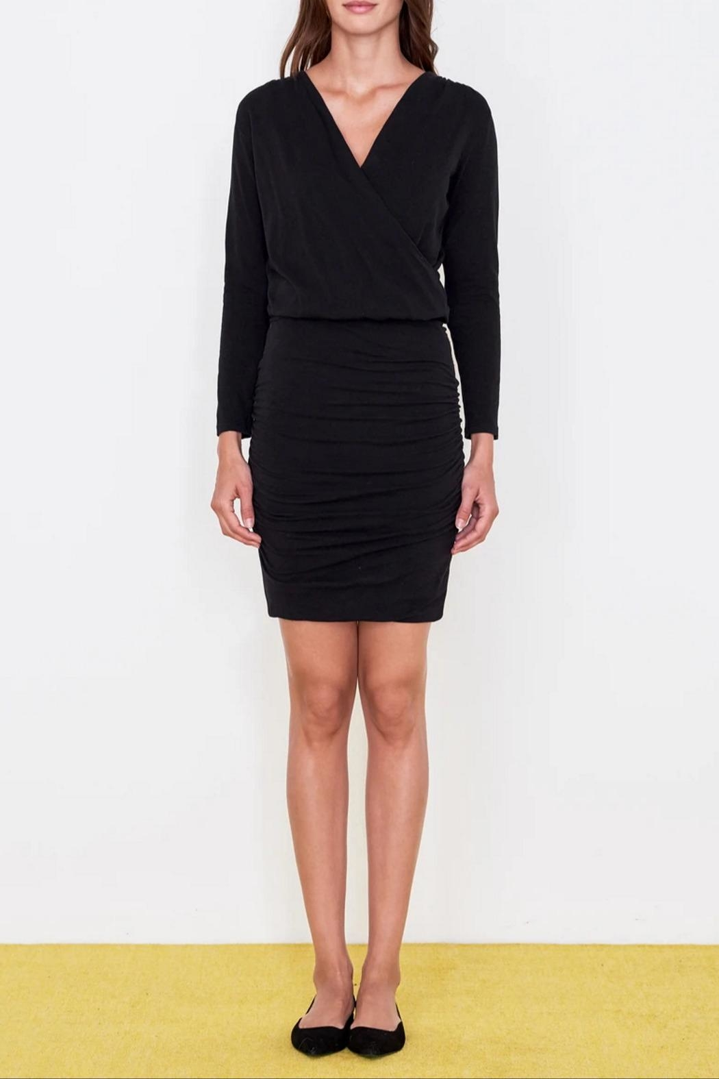 Sundry Surplice Ruched Dress - Front Full Image