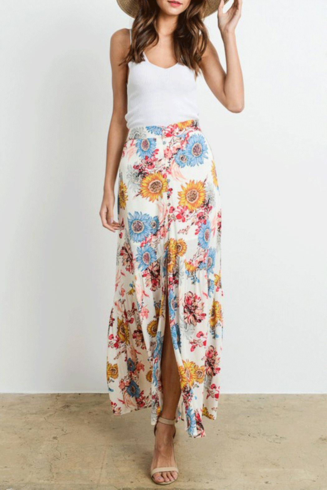 Le Lis Sunflower Maxi Skirt - Front Cropped Image