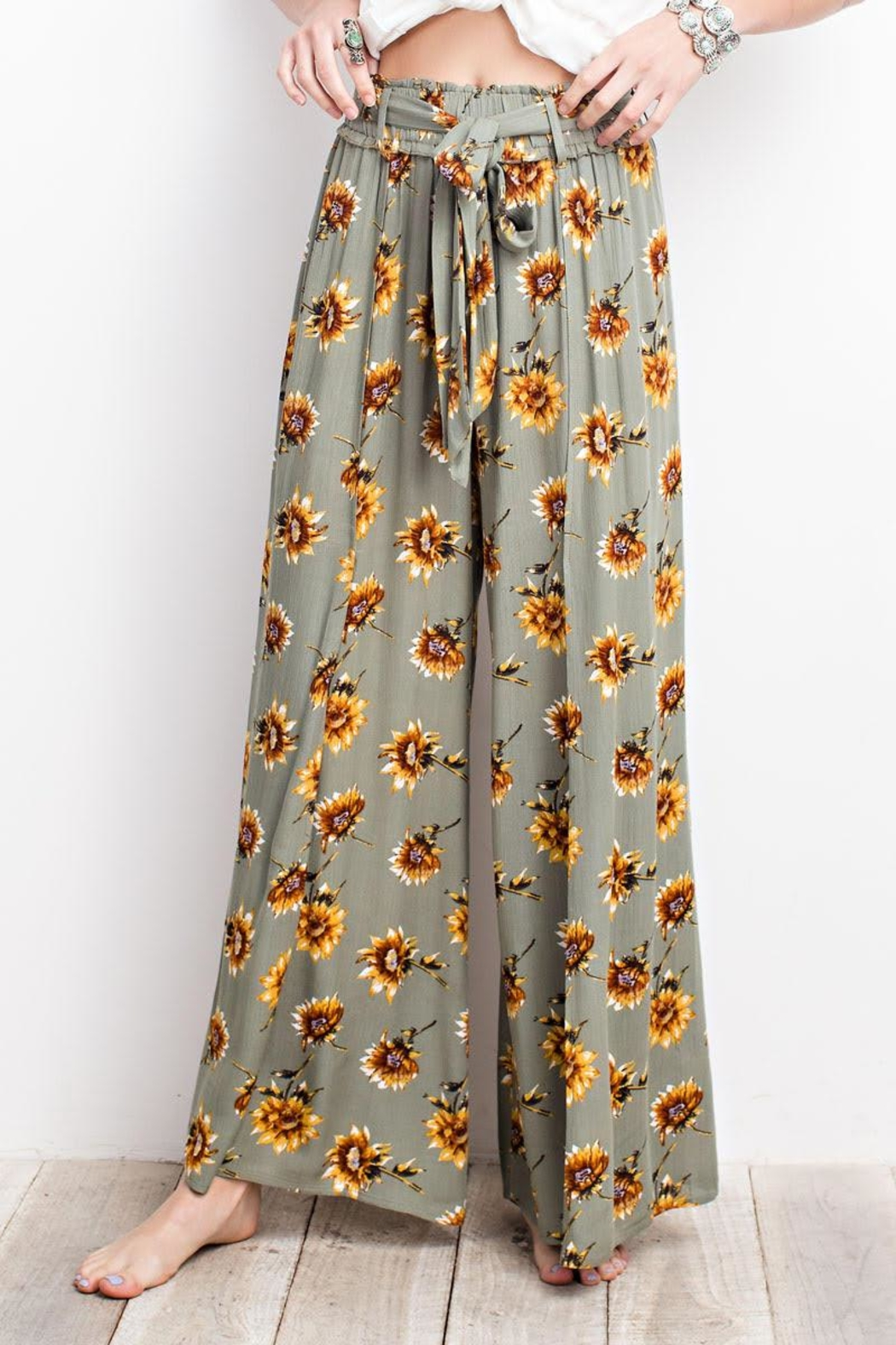 easel Sunflower Pants - Front Full Image