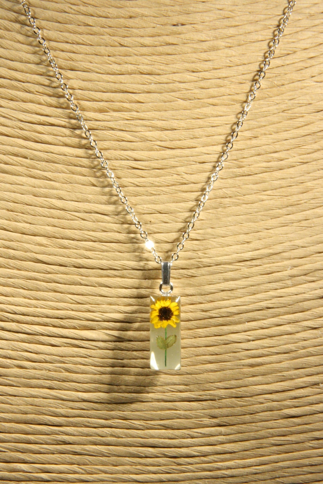 Light Years Collection Sunflower Rectangle Necklace - Front Full Image