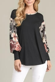 Sung Light Floral Contrast Top - Product Mini Image