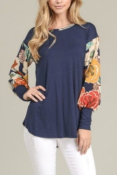 Sung Light Floral Contrast Top - Product List Image