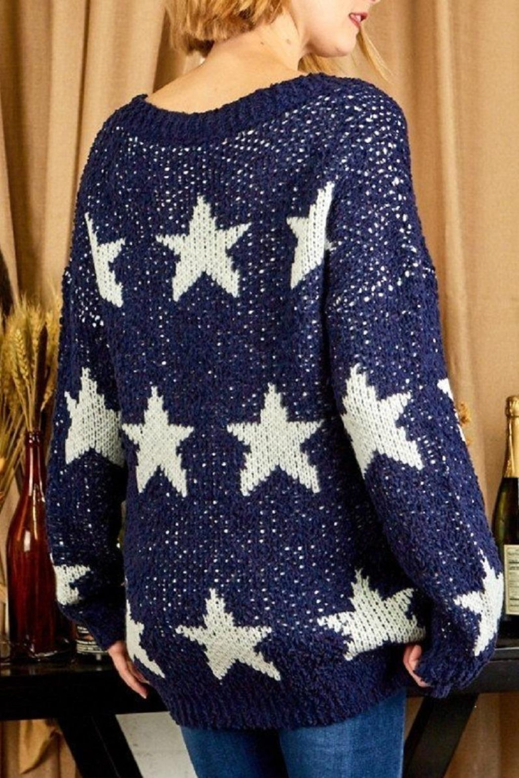 Sunlight Star Print Sweater - Back Cropped Image